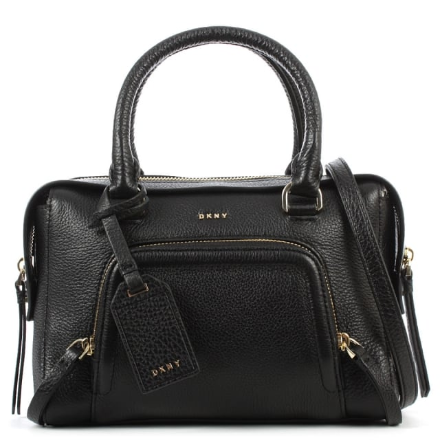 Chelsea Black Leather Zipped Small Satchel