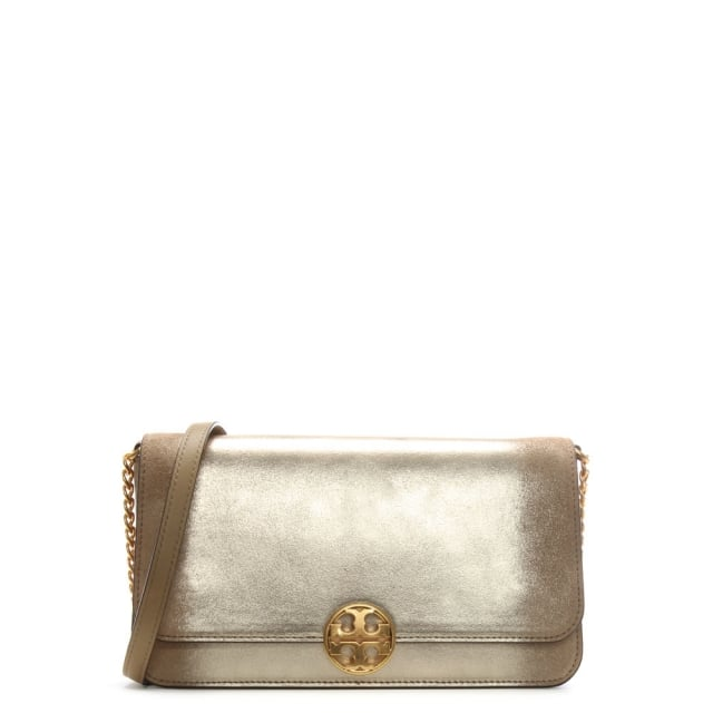 Tory Burch Chelsea Convertible Gold Leather Clutch Bag