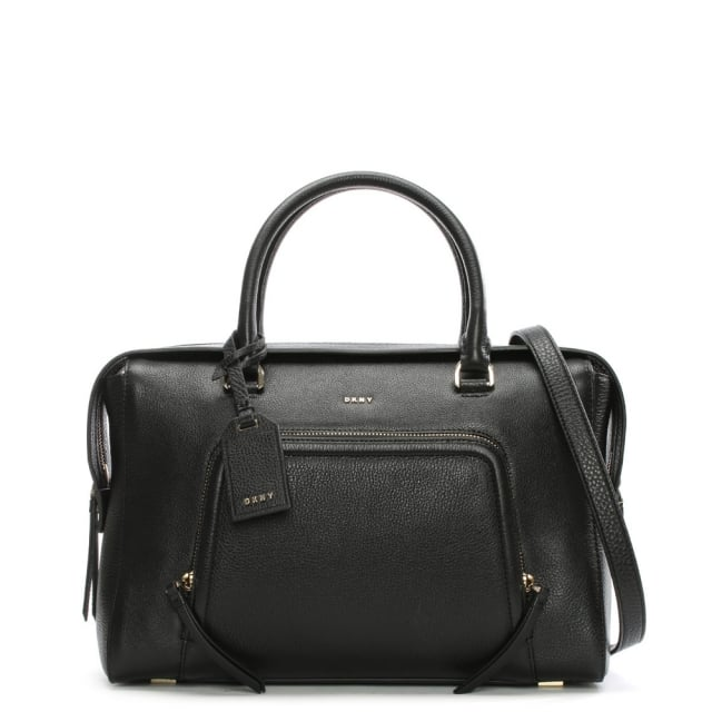 ab639b93547d DKNY Chelsea Large Vintage Black Leather Satchel