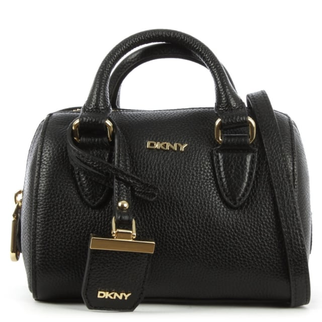 Chelsea Mini Black Leather Round Satchel