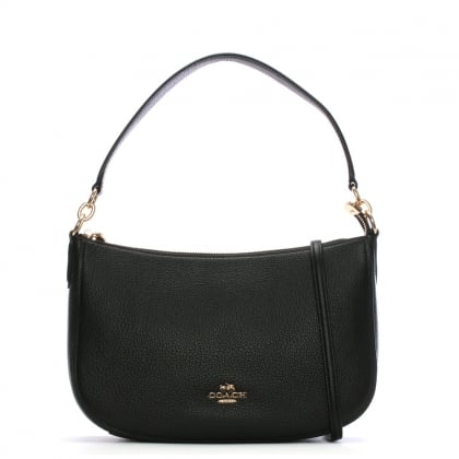 Chelsea Polished Pebbled Black Leather Cross-Body Bag