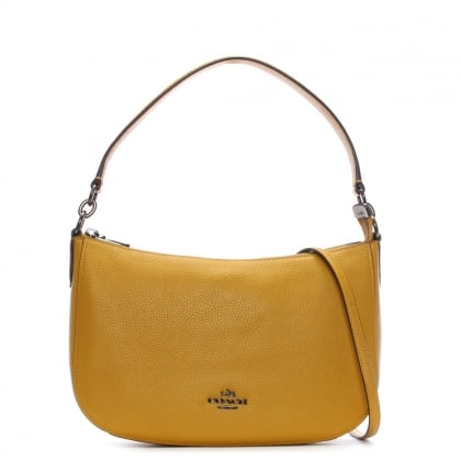 Chelsea Polished Pebbled Flax Leather Cross-Body Bag