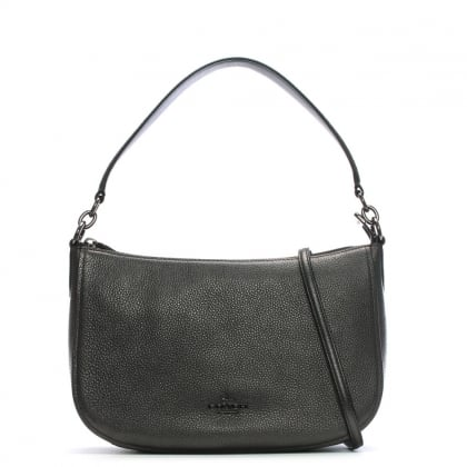 Chelsea Polished Pebbled Metallic Graphite Leather Cross-Body Bag