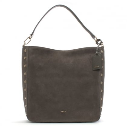 Chelsea Stone Suede Studded Hobo Bag