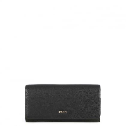 DKNY Chelsea Vintage Black Leather Carryall Wallet