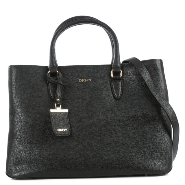 Chelsea Vintage Black Leather Shopper Bag