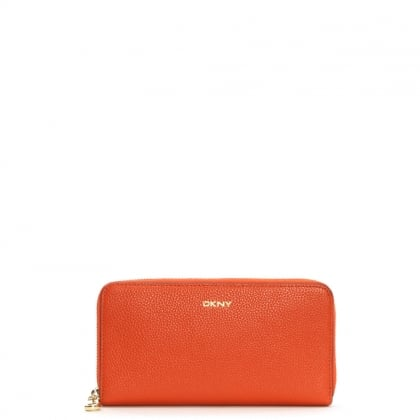 Chelsea Vintage Orange Pebbled Leather Zip Around Wallet
