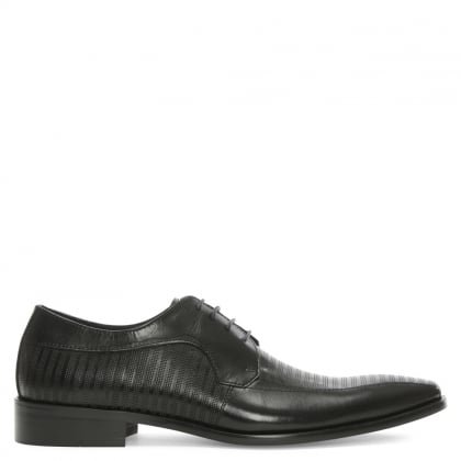 Cheriton Black Leather Punched Lace Up Shoe