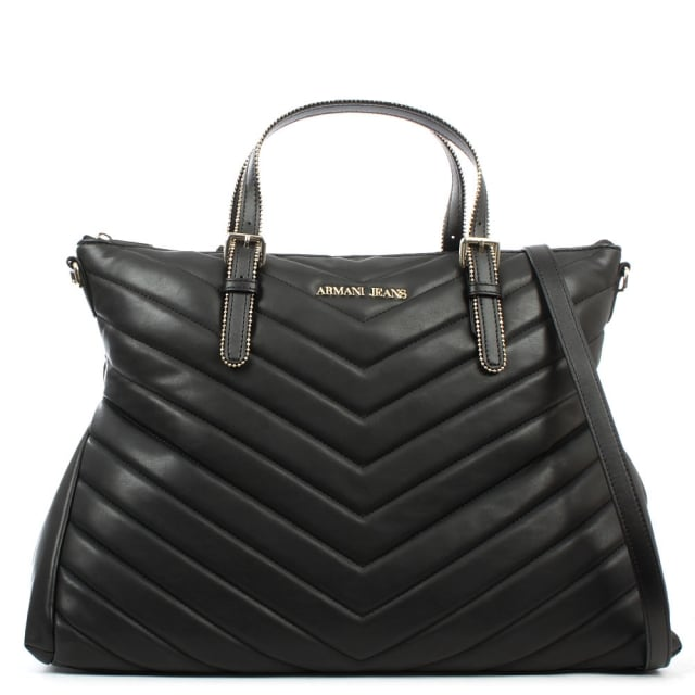 Chevron Quilted Black Top Zip Tote Bag