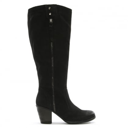 Chienti Black Leather Exterior Zip Knee High Boots