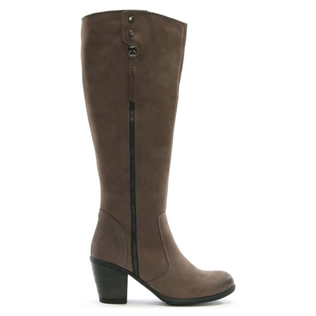 Chienti Grey Leather Exterior Zip Knee High Boots