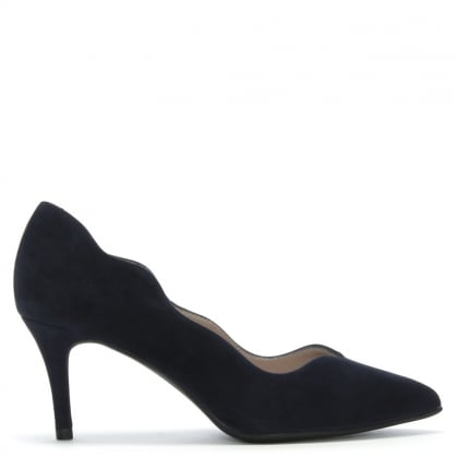 Chilko Navy Suede Scalloped Court Shoes