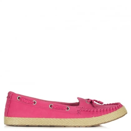 Chivon Pink Leather Moccasin Espadrille
