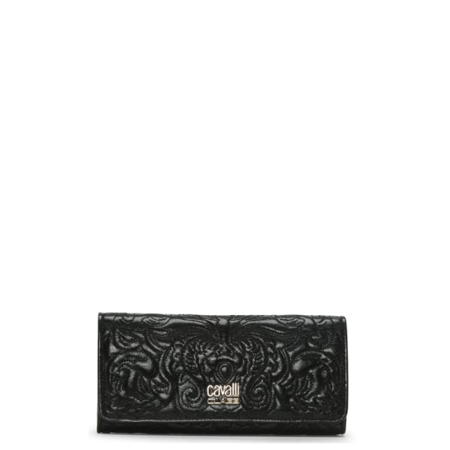 Chloe Black Leather Embroidered Zip Around Wallet