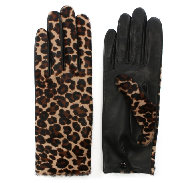Chloe Leopard Leather Gloves