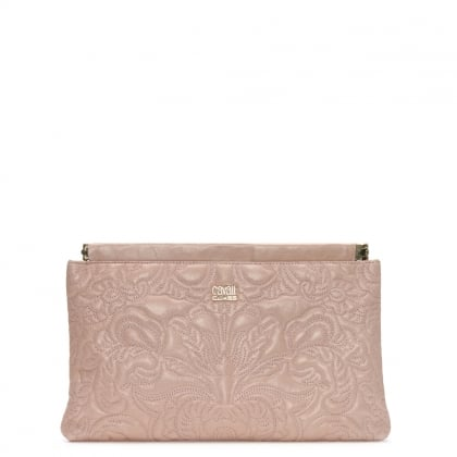 Chloe Pink Leather Embroidered Clutch Bag