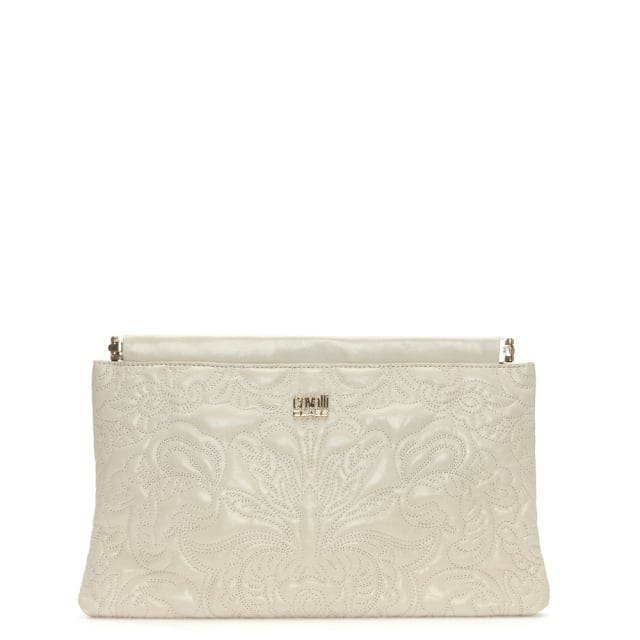 Chloe White Leather Embroidered Clutch Bag