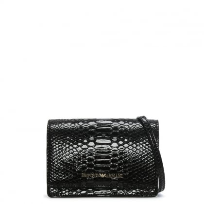 Cholita Black Patent Reptile Cross-Body Bag