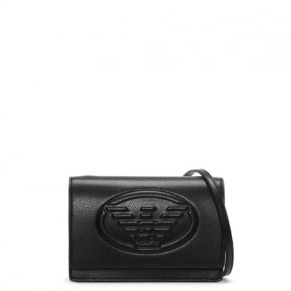 Cholita Black Textured Logo Cross-Body Bag