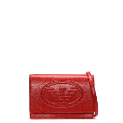 Cholita Red Textured Logo Cross-Body Bag