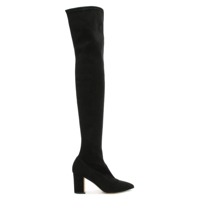 Chriselle Black Suede Over The Knee Cage Heel Boot
