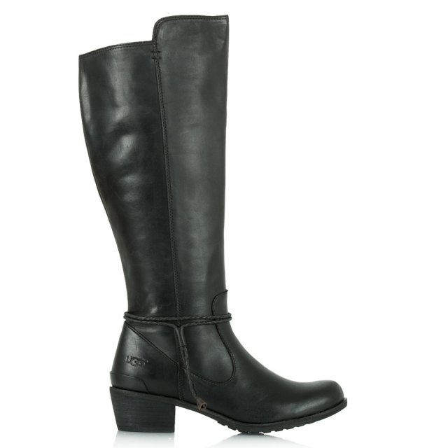 Cierra Tall Black Grained Leather Knee Boots