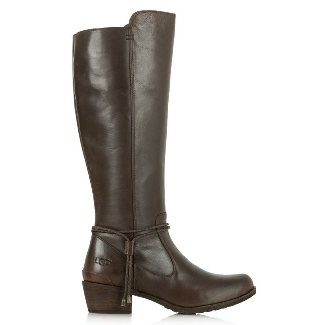 Cierra Tall Brown Grained Leather Knee Boots