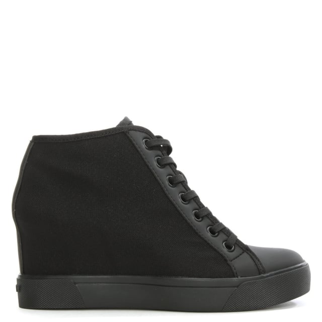 Cindy Black Mesh Wedge High Top Trainer