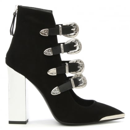 Cindy Black Suede Buckled Pointed Toe Ankle Boot
