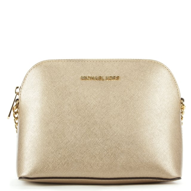 5f0526205351 Michael Kors Cindy Gold Leather Dome Cross-Body Bag