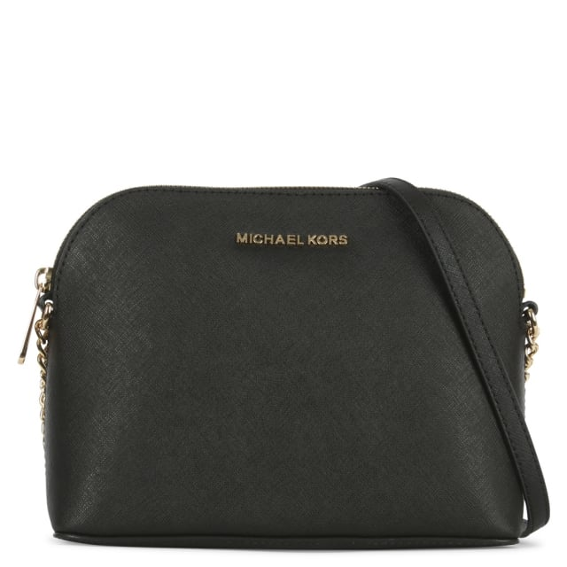 Cindy Large Black Saffiano Leather Dome Cross-Body Bag
