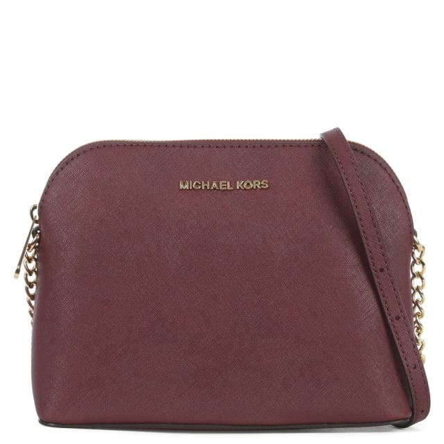 Cindy Large Plum Saffiano Leather Dome Cross-Body Bag
