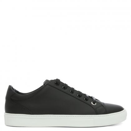 Alpha Black Leather Lace Up Trainers