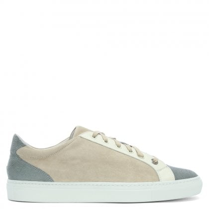 Alpha Lux Grey Leather Contrast Lace Up Trainers