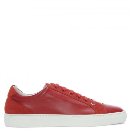 Alpha Red Leather Lace Up Trainers