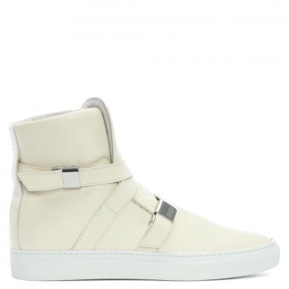 Parallax Beige Leather Buckle High Top Trainers