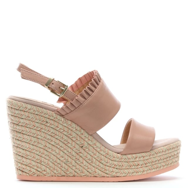 Cira Pink Leather Two Bar Wedge Espadrilles