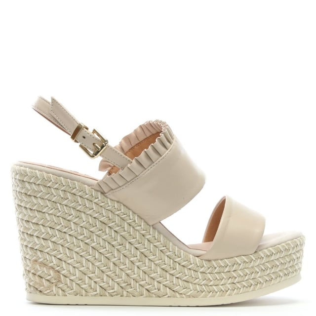 Cira Taupe Leather Two Bar Wedge Espadrilles