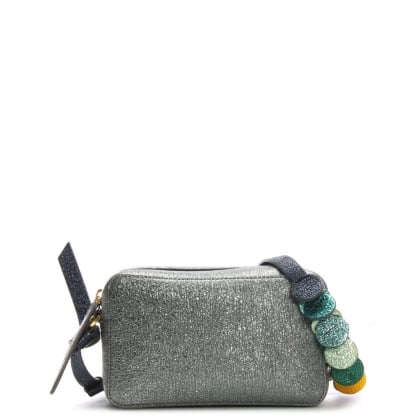 Circle Mini Grey Metallic Leather Cross-Body Bag