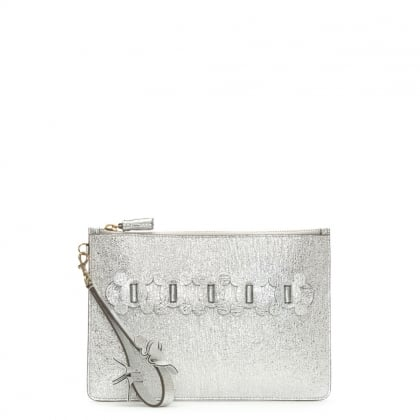 Circulus Silver Metallic Leather Large Top Zip Pouch