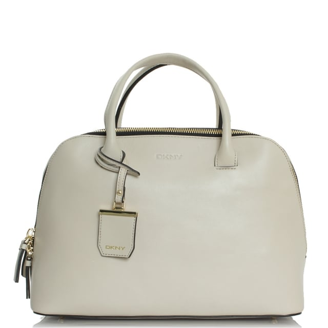 City Zip Large Beige Leather Duffel Bag