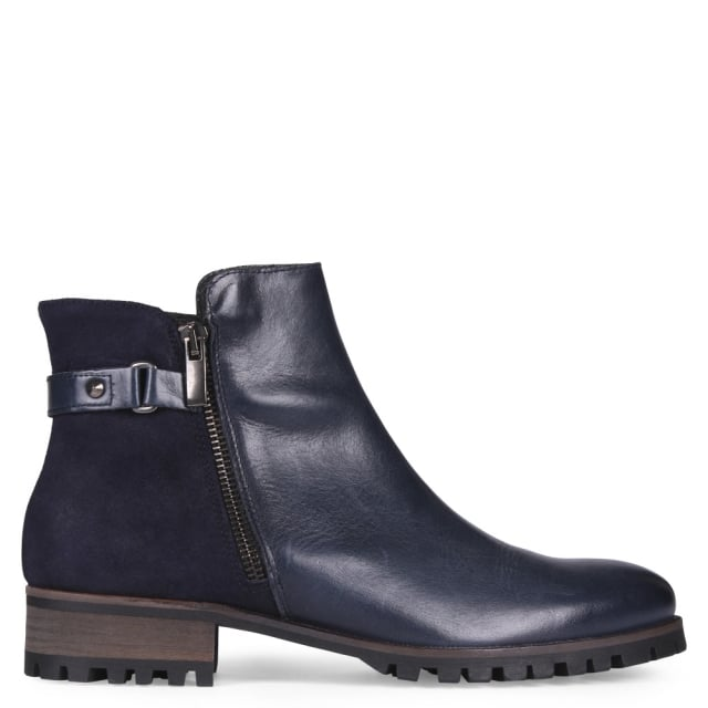 Civet Navy Leather Contrast Ankle Boots