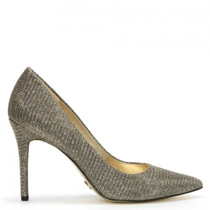 Claire Black & Gold Glitter Mesh Pumps