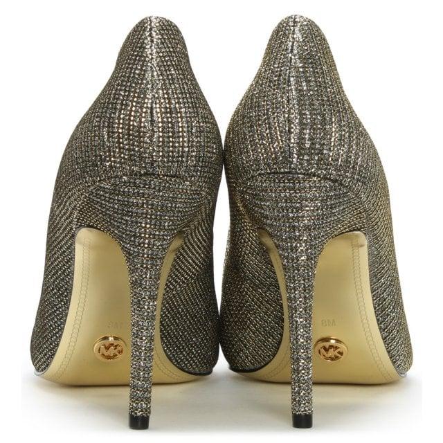 f21f33bf811a Michael Kors Claire Black   Gold Glitter Mesh Pumps