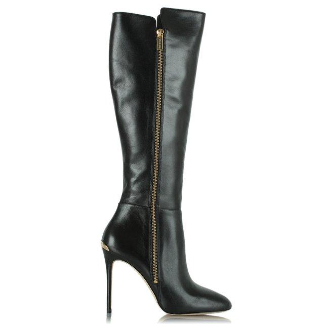 c90f6a9e751 Michael Kors Black Leather Clara Logo Plaque Knee Boot