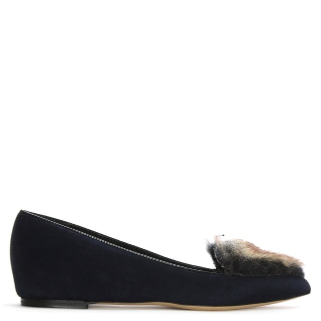 Clara Navy Suede Faux Fur Trim Loafers