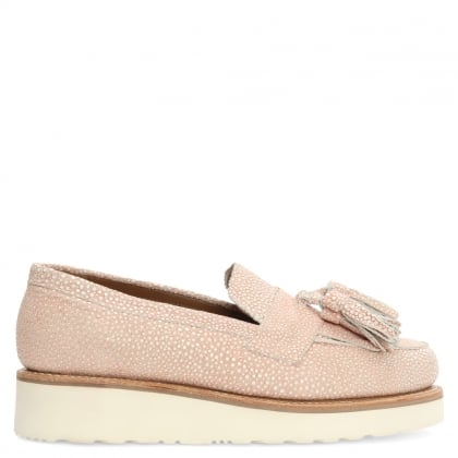 Clara Textured Pink Leather Tassel Loafer