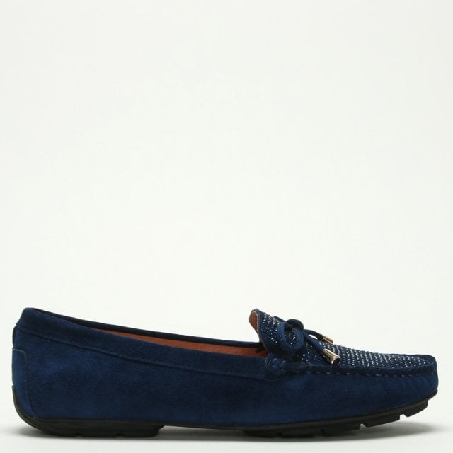 3e9224d868a DF by Daniel Clarendon Navy Suede Embellished Flat Loafer