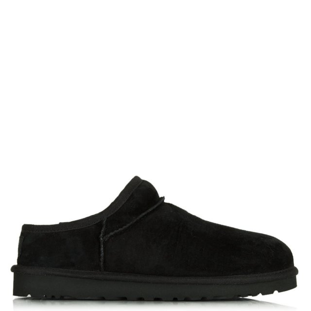 Classic Black Suede Open Back Slipper