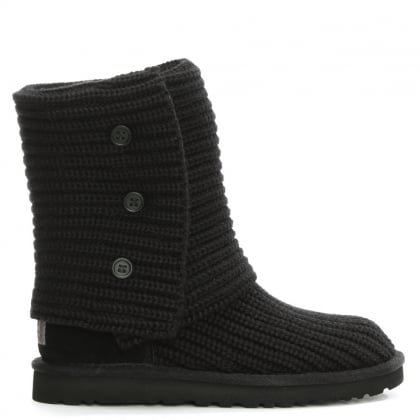 Classic Cardy Black Knitted Ankle Boot
